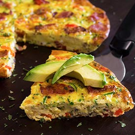 Paleo Bacon Zucchini & Red Pepper Frittata
