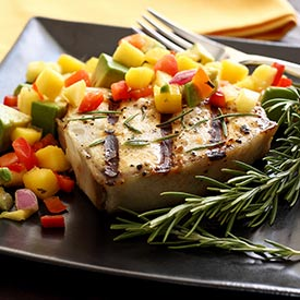 Grilled Halibut Steak with Mango-Pineapple-Avocado Salsa Recipe