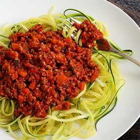 Paleo Bolognese Sauce & Zucchini Noodles Recipe