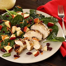 Kale & Spinach Paleo Salad with Apples, Cranberries and Lemon Vinaigrette
