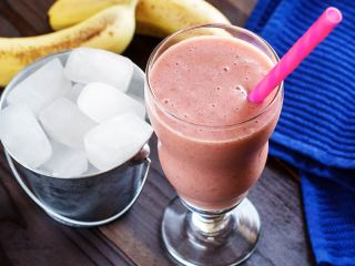Raspberry, Banana & Coconut Water Ice Cube Smoothie