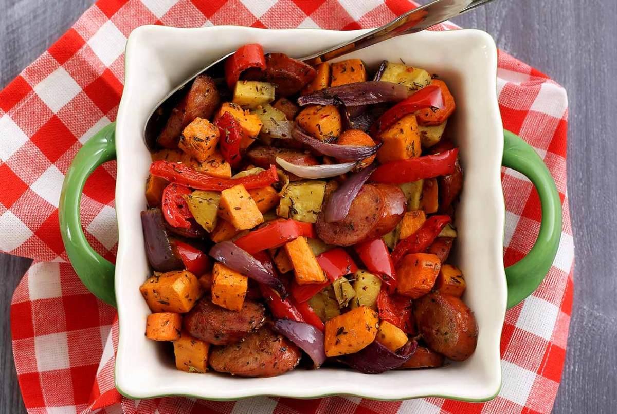 Paleo Newbie easy chop and drop roasted veggies and sausage recipe