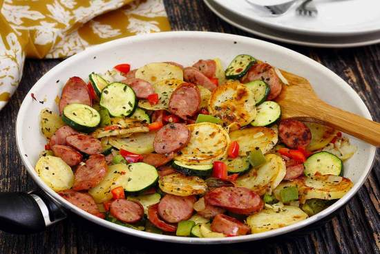 easy paleo recipe for Italian veggies and sausage