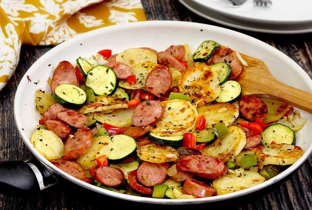 paleo recipe for easy sausage and potato Italian skillet