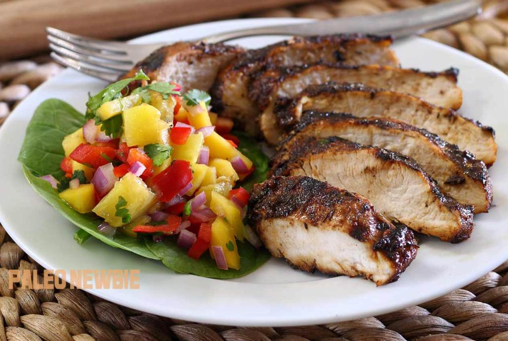 Paleo Jerk Chicken With Mango Pineapple Salsa Recipe Paleo Newbie