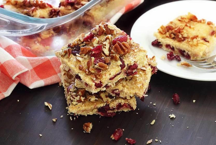 easy paleo recipe for lemon-cranberry bars