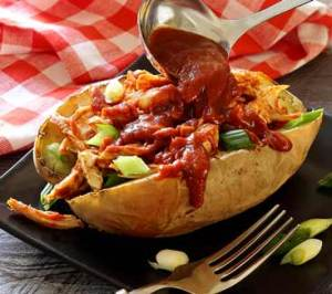easy paleo recipe for stuffed sweet potato with chicken and BBQ sauce