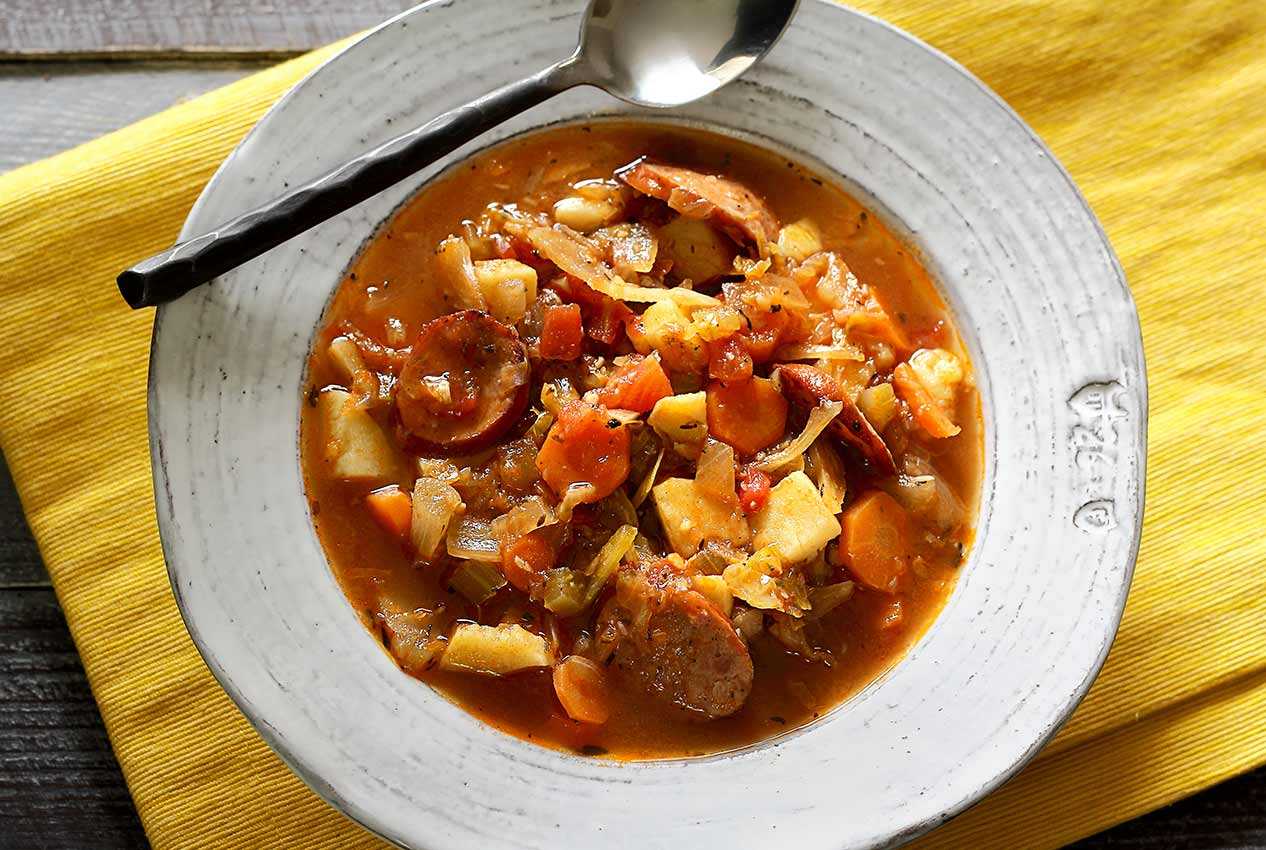 easy paleo recipe for cabbage and sausage soup