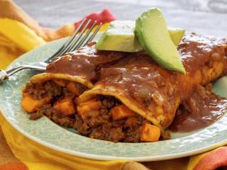 Paleo Spicy Enchiladas with Chorizo & Sweet Potatoes
