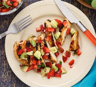 Paleo Grilled Chicken with Strawberry-Avocado Salsa Recipe