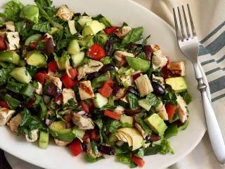 Paleo Greek Chopped Salad with Grilled Chicken