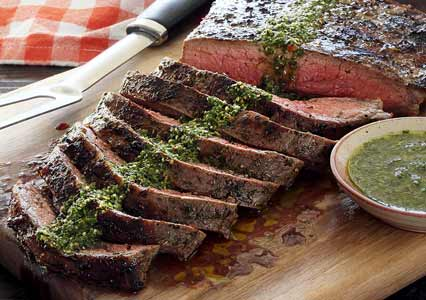 simple recipe for paleo grilled flank steak with chimichurri sauce