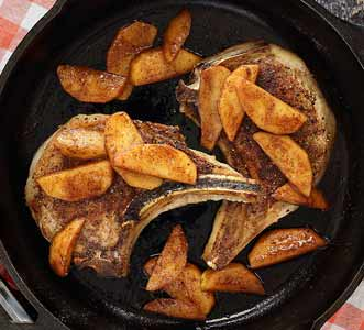 Simple paleo recipe for Paleo Moroccan Spiced Pork Chops with Sautéed Apples