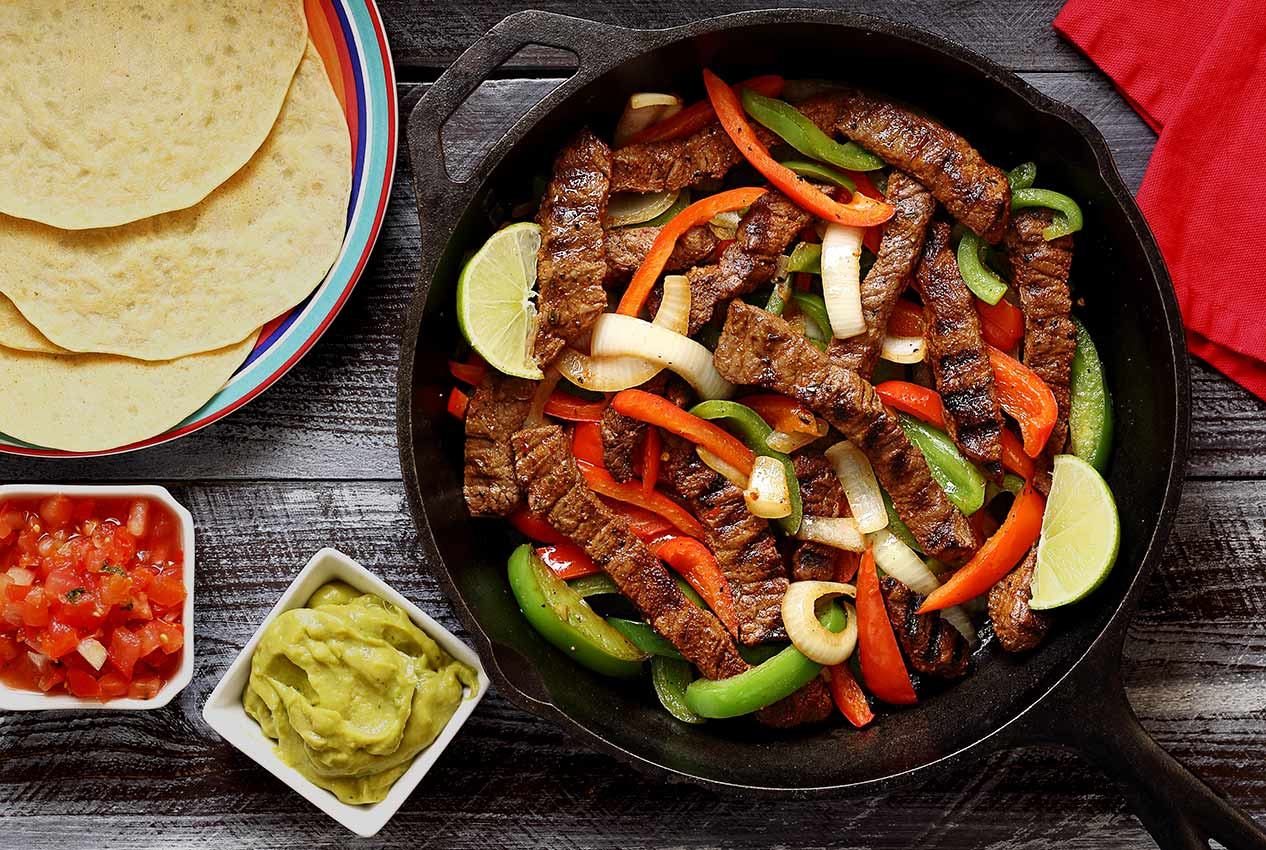 easy paleo recipe for steak fajitas with gluten-free tortillas
