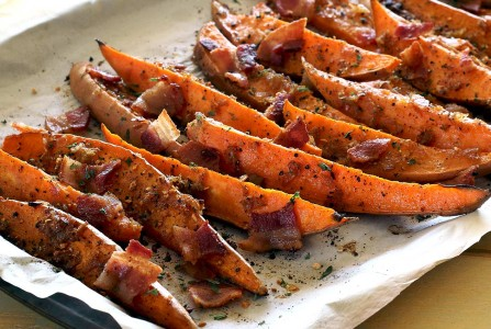 Roasted Sweet Potato Wedges with Bourbon-Bacon Glaze Recipe