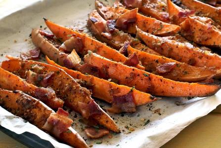 Roasted Sweet Potato Wedges with Bourbon-Bacon Glaze Recipe