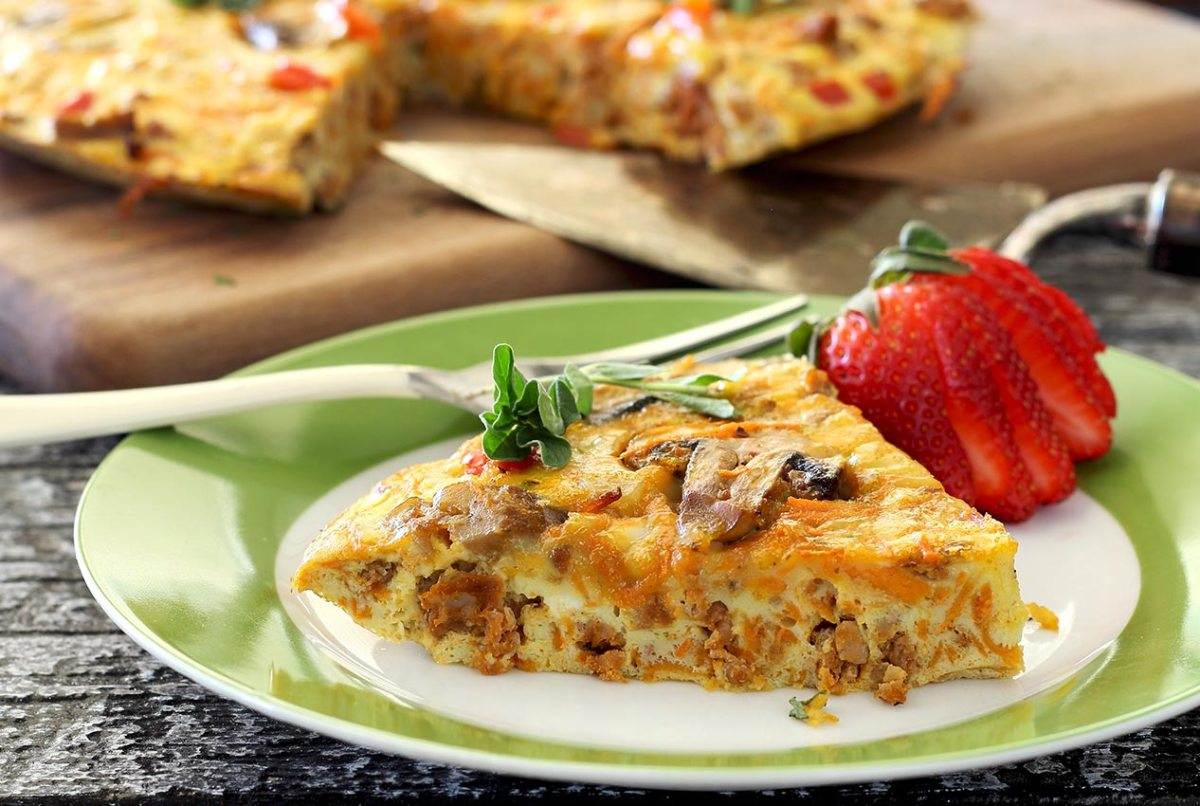 easy paleo recipe for chorizo, sweet potato and mushroom frittata