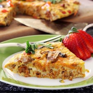 simple frittata paleo recipe with chorizo, sweet potatoes and mushrooms