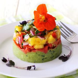 easy paleo recipe for a salmon, guacamole and salsa appetizer