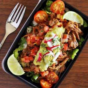 spicy shredded beef meal prep idea