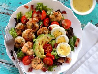 Paleo Shrimp Cobb Salad with Garlic Vinaigrette