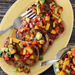 easy paleo recipe pork chops peach salsa