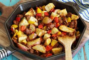 easy paleo skillet recipe for roasted potatoes with spicy chorizo