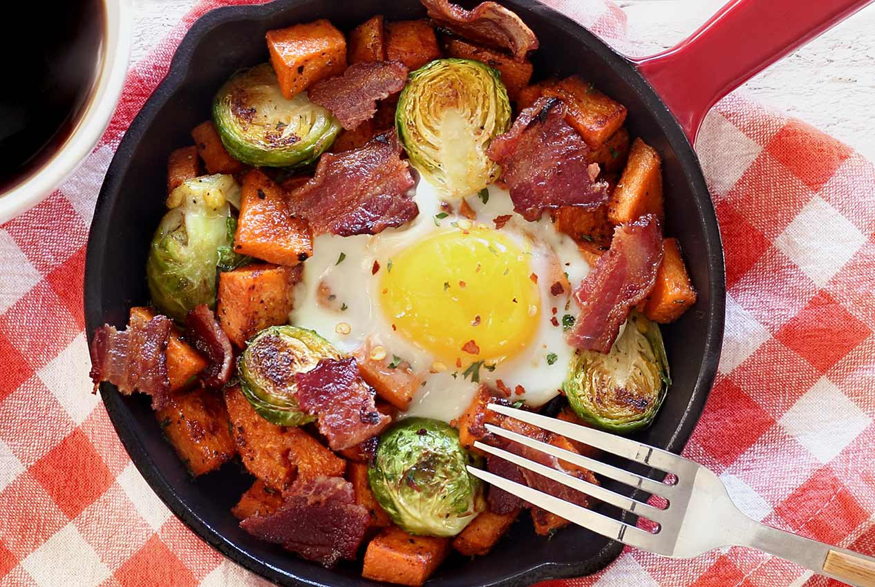 easy paleo recipe for mini-skillet breakfast with potatoes, bacon and Brussels sprouts