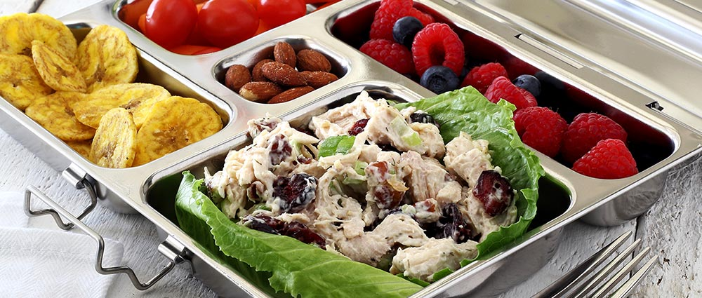 Chicken salad to go from paleo newbie. Features Planetbox stainless steel meal prep container.