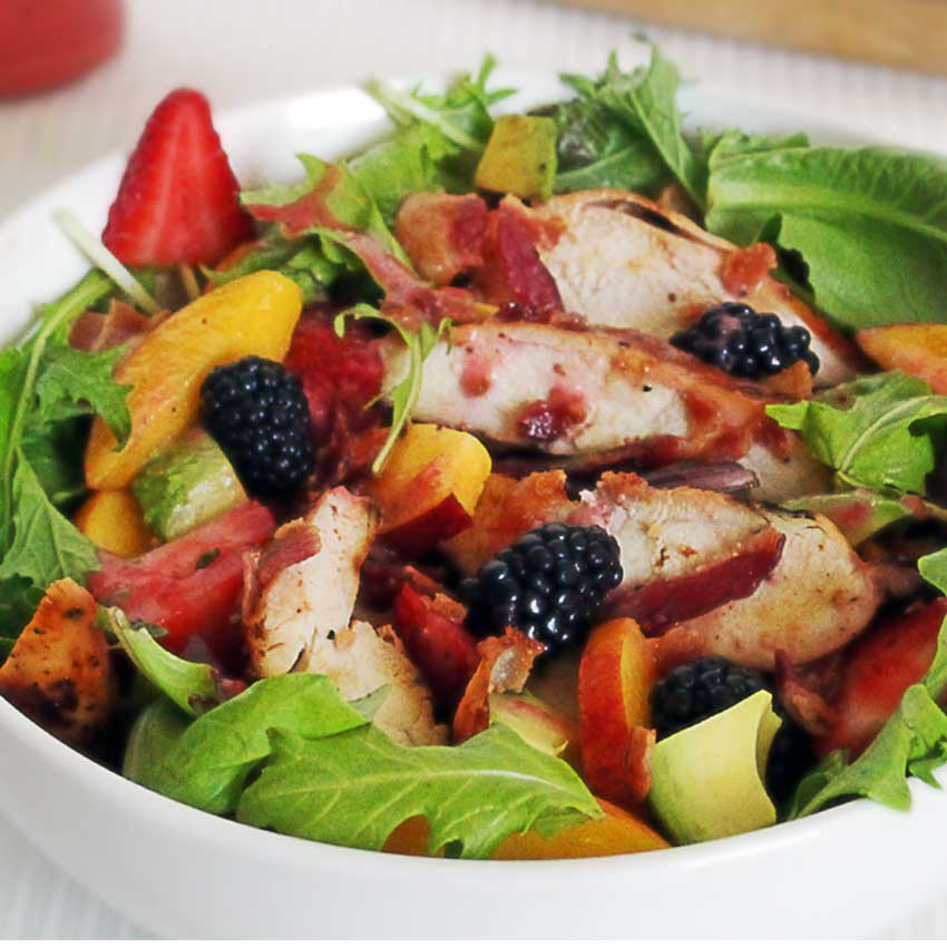 paleo chicken berry salad with an easy strawberry vinaigrette recipe