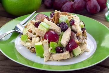 simple paleo recipe for a chicken salad with fruit and pecans