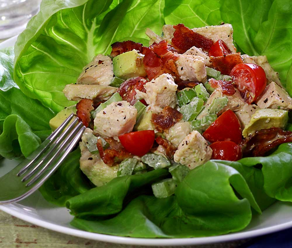 easy paleo salad made with pre-cooked chicken. Includes a quick recipe for a paleo mayo dressing.