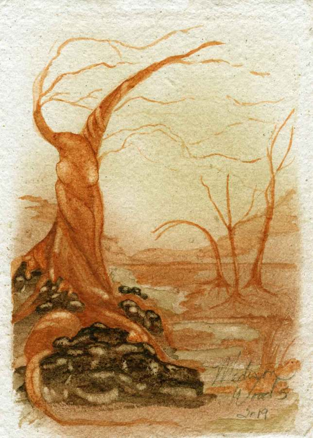"""Twisted Tree No. 2, """"4 of Wands"""". This is one of the cards I'm painting for a tarot deck. It'll be a very long time before I get them all done. 5 x 7"""" on handmade paper, all Ozark pigments. Not for sale. An original painting by Madison Woods."""