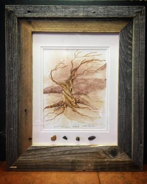 """Old Man"". $375, framed, with raw pigment samples. email: madison@wildozark.com for more information."