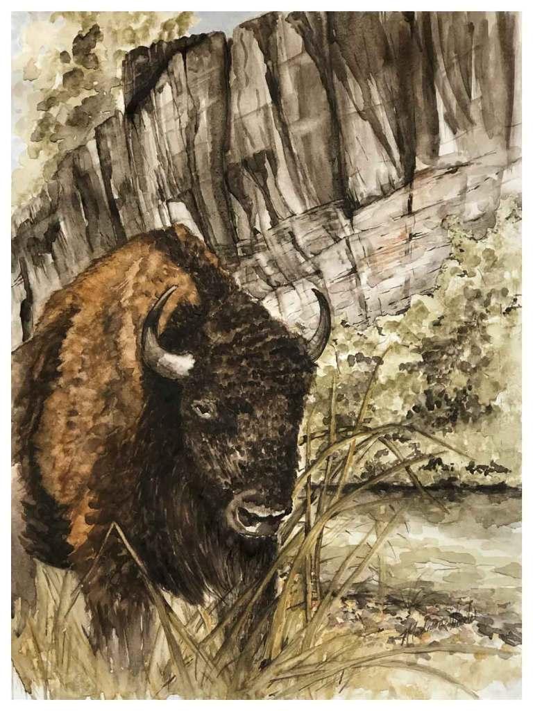 Namesake, original watercolor art using Ozark pigments.