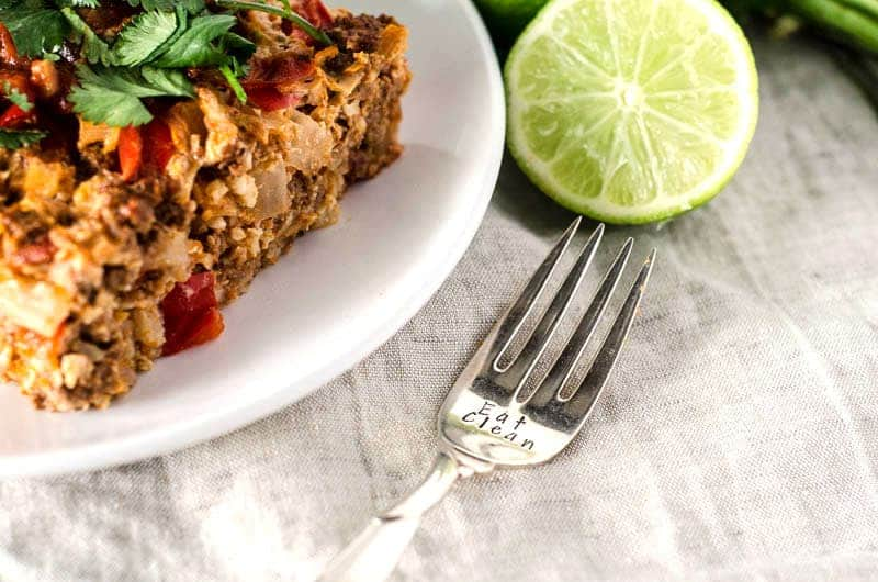 plate of casserole with fork that reads eat clean