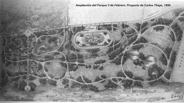Ampliación del Parque 3 de Febrero, plano Carlos Thays 1892