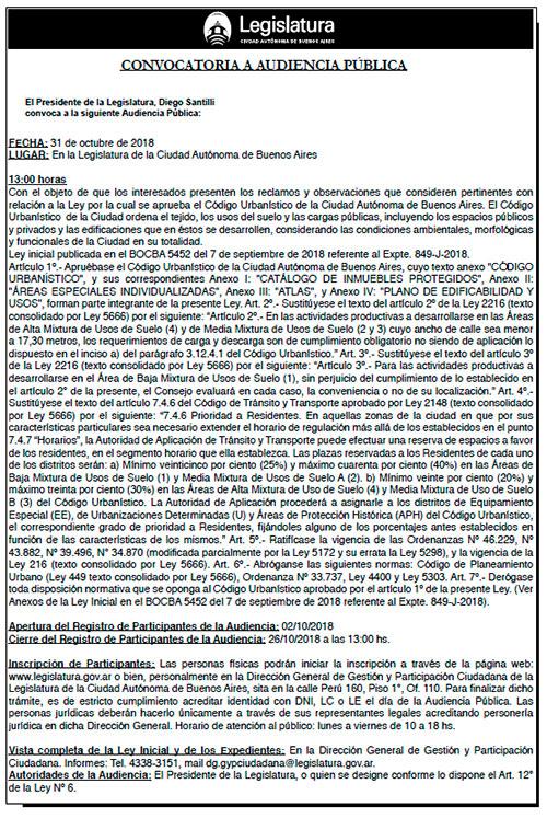 Convocatoria a Audiencia Pública por el Código Urbanístico de la CABA