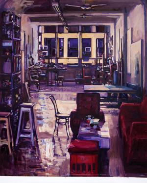 Pablo Noce. Mañana en el taller, 150 x 120 cm, óleo sobre tela, 2018.