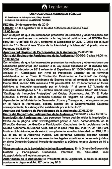 Audiencia Pública del 24/09/2019 14 hs.