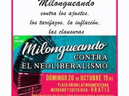 """El domingo 20 """"Milongueando contra el Neoliberalismo"""" en Palermo"""