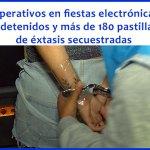 Operativos en fiestas electrónicas: tres detenidos y más de 180 pastillas de éxtasis secuestradas