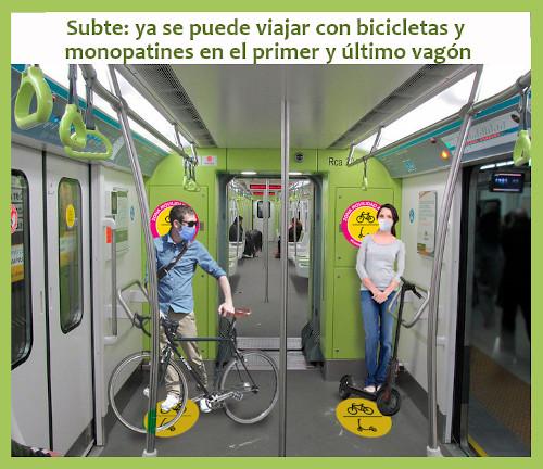 Viajá en Subte con tu bicicleta o monopatín en la ciudad de Buenos Aires