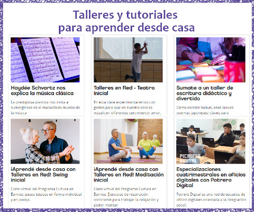 Talleres y tutoriales on line gratuitos