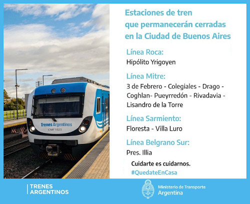Once estaciones ferroviarias que estarán cerradas desde el martes 26 en la Ciudad