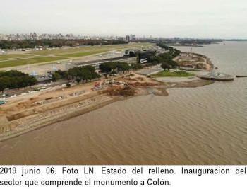 2019 junio 06. Foto LN. Estado del relleno. Inauguración del sector que comprende el monumento a Colón.