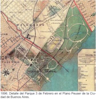 1896. Detalle del Parque 3 de Febrero en el Plano Peuser de la Ciudad de Buenos Aires.