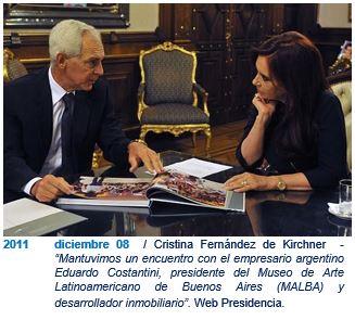 Cristina Fernández de Kirchner con Eduardo Constantini