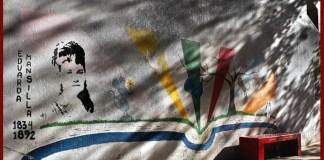 Eduarda Mansilla en el mural de la Plaza del Jacarandá