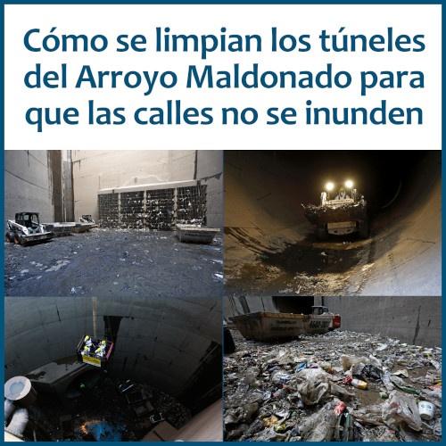 Túneles aliviadores del Arroyo Maldonado: su limpieza para impedir calles inundadas